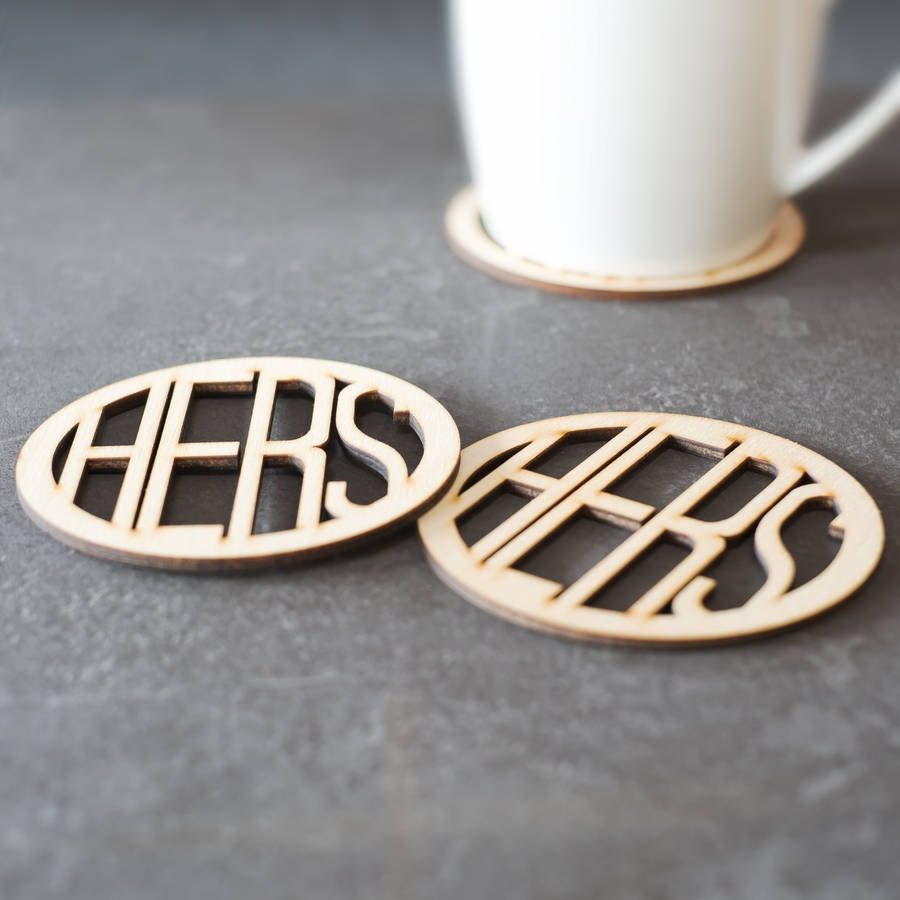Hers And Hers Wooden Coasters Drinks Coasters Housewarming