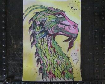 Watercolor Dragon, OOAK unframed