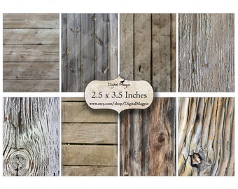 natural wood digital paper printable ATC  rustic wood background images instant download grungy collage sheet 2.5 x 3.5