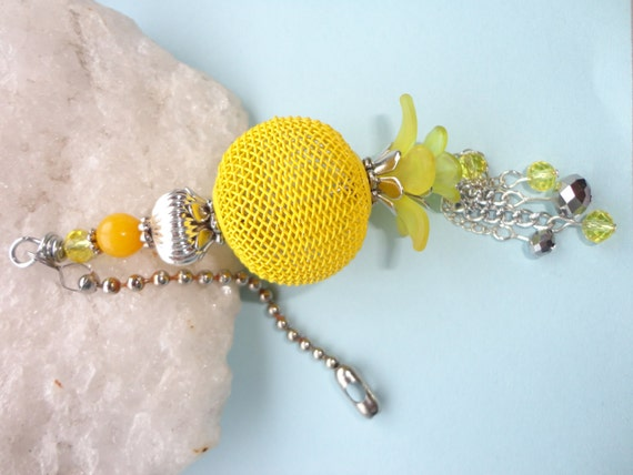 Yellow Ceiling Fan Pull Beaded Light Pull Ball By