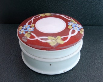 Antique China Rouge or Ointment Pot With Hand Painted Forget-Me-Nots