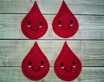 """Red Blood Drop Felt Embellishment, set of 4, Felties, 2"""" x 1.5"""""""