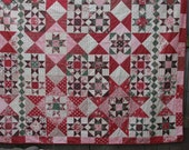 Subtle Christmas Holiday Star Queen-Size Quilt with Decorative Pieced Backing