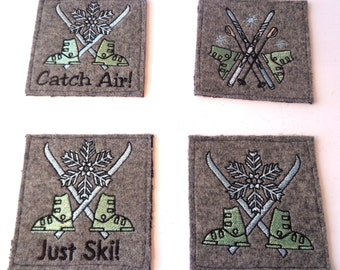 Set of 4 Ski Boot coasters, mug rug - upcycled from a grey and black wool sweater