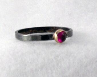 Garnet Ring with 14k Gold Bezel on Sterling Silver Band