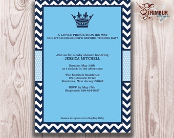CHEVRON PRINCE Boy Baby Shower Invitation/  Blue Chevron and dots with crown and elegant details: Sent as Digital pdf File