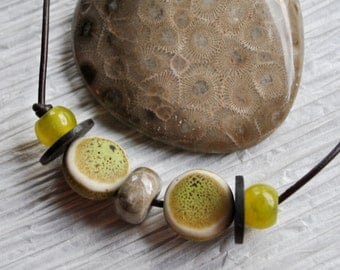 Petoskey Stone, Men's Necklace of Fossil Petoskey Stone with green ceramic beads on brown leather cord , minimalist, Michigan necklace
