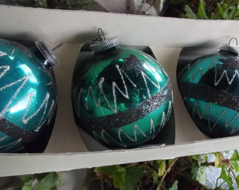 3 ~ 1950s West German (DBGM) Hand Decorated Christmas Ornaments Teal Green Mica