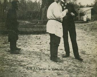 Leo Tolstoy w friend antique photo card Russia