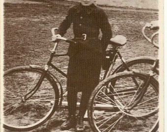 Boy with bicycle antique photo