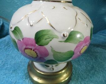 Vintage Antique  Table Lamp Ceramic White  Floral Rose Pink Green Gold Brass Filigree