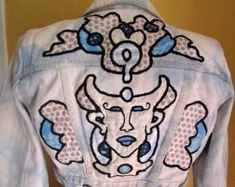 XS egyptian OOAK embroidery design bolero denim jacket.