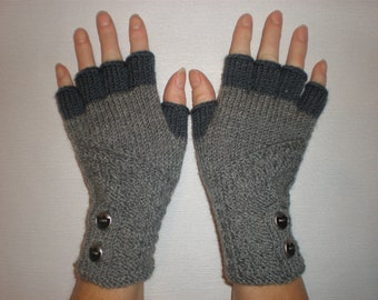 Hand-knitted grey color gloves with half fingers and buttons