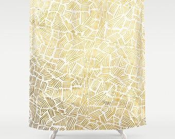 Inca Gold Sun Shower Curtain  – Minimal Tribal Design