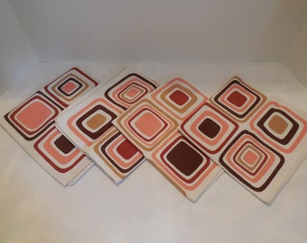 Mod Set of Napkins- Four Geometric Patterned Napkins Set of 4, Earthtone Cotton/Linen Napkin Set- Rust, Tan, Coral and Brown on Cream- NICE!