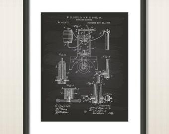 Bottling machine 1890 Patent Art Illustration - Drawing - Printable INSTANT DOWNLOAD - Get 5 colors background