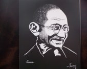 Mahatma Gandhi is a Limited Edition, Numbered, Dark and Light Print of the Original Art by Artist Charles Freeman