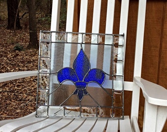 Stained Glass Fleur de lis Panel Blue and Gray