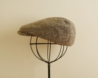 Dark brown tweed boys hat, winter flat cap for baby, gift for boys, wool newsboy hat winter photo prop  - made to order