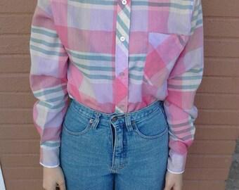 1980's pastel plaid long sleeve blouse