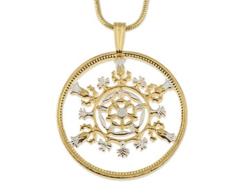 "Great Britian Two Shilling Pendant and Necklace, British 2 Shilling Coin Hand Cut, 14K Gold and Rhodium Plated,1 1/8"" in Diameter, ( # 763 )"