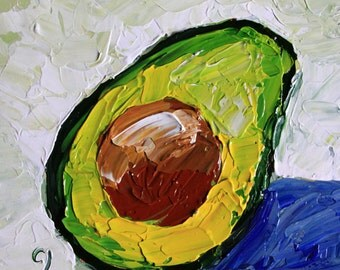 "Avocado painting Small original still life 6x6"" green white blue acrylic on panel impressionist fruit kitchen art fine art by Cristina Jaco"