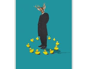 Deer Print,  Antler, Stag, Deer Art, Deer Art Print, Deer Artwork, Wall Decor, Wall Art, Deer Wall Hanging, Blue, Stag Head, Ducks, Weird