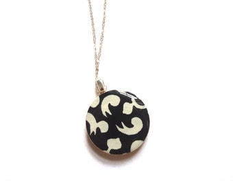 Black and White Jewelry, Black and White Necklace, Black and White Pendant, Japanese Paper Jewelry, Japanese Paper Necklace, Chiyogami