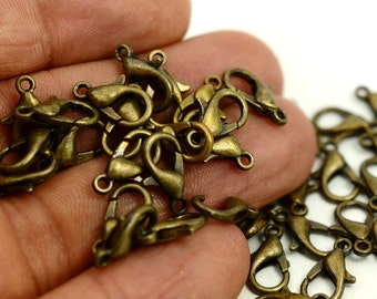 100 Pieces Antique Brass Lobster Clasp  12x6 mm  Claps 502