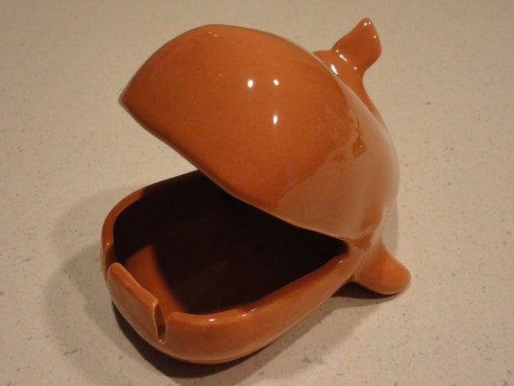 Vohann Of California Orange Whale Ashtray Circa 1960 Vintage