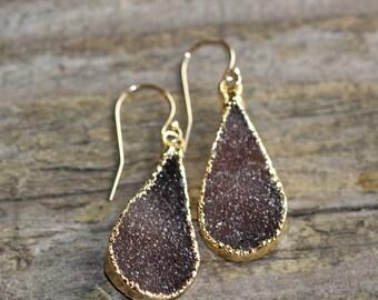 SALE Chocolate druzy teardrop earrings