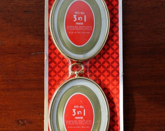 Picture Frames Vintage 2 Link Frames Convex Glass Cadillac Frames Vintage Fitz-All 3 in 1 Frame Oval Made in USA