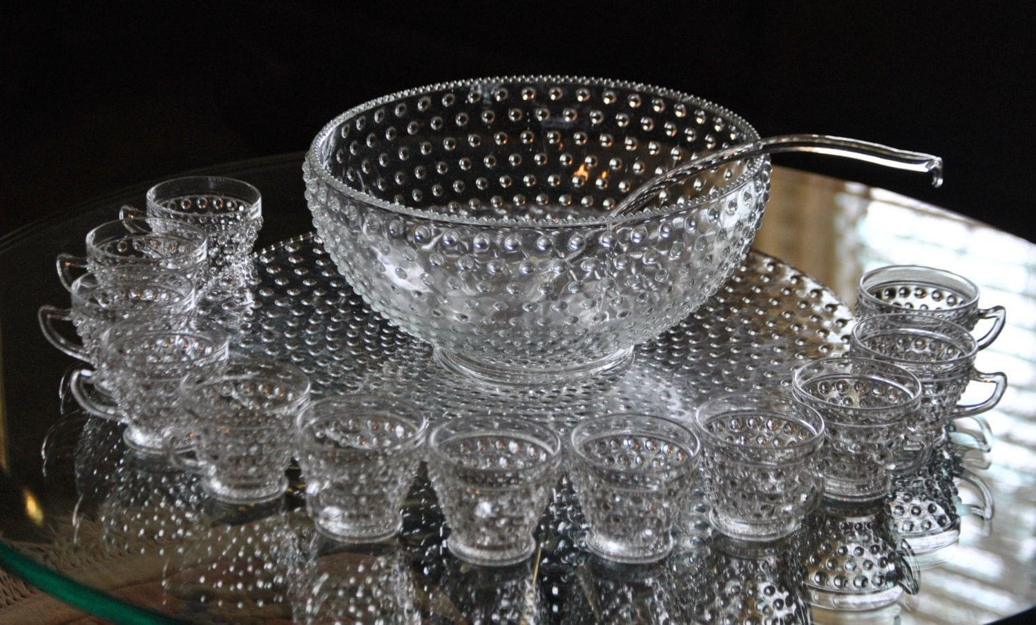 vintage clear glass hobnail punch bowl set. Black Bedroom Furniture Sets. Home Design Ideas