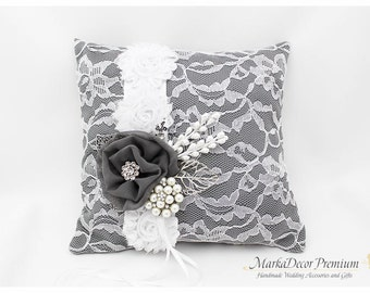 Wedding Handmade Lace Ring Pillow Custom Bridal Bearer Brooch Flower Pillow in Charcoal Grey and White