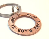 Personalized Copper Washer Latitude Longitude Key Chain, Handstamped Names Dates Initials Coordinates Men Family Boyfriend Groomsmen Gift