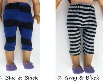 american girl doll, leggings, black stripe , blue stripe.