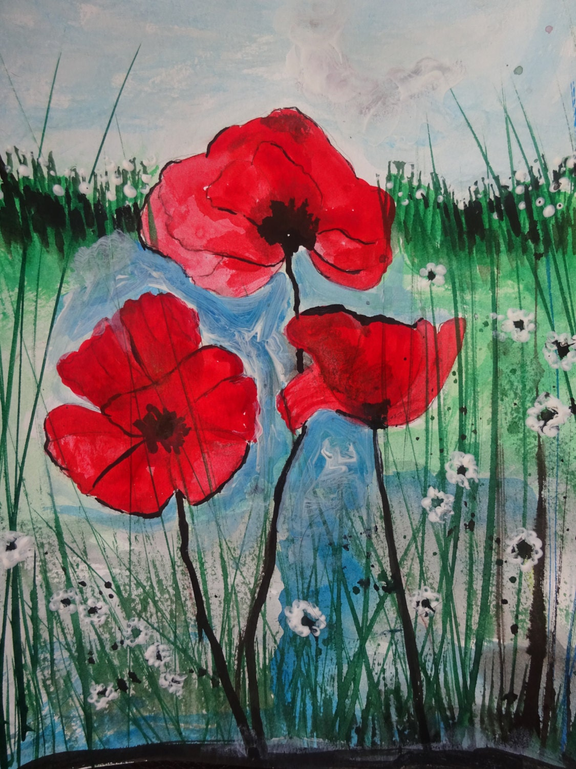 Wall Art Red Flower : Daisies wall art red poppies flower by affordableartumi on