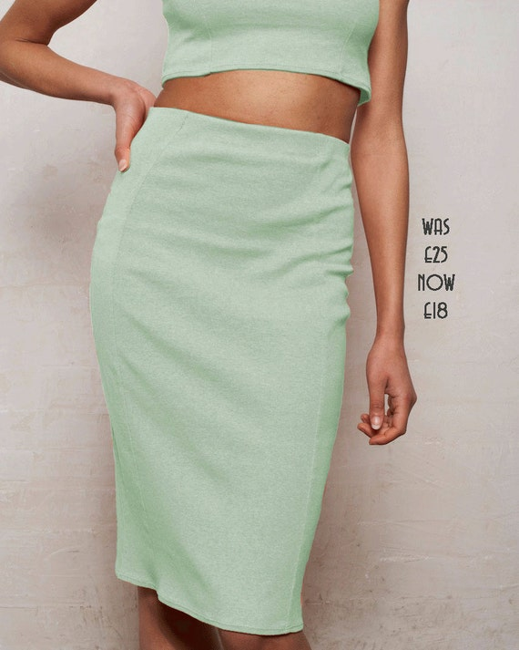 sale high waisted panelled pencil skirt in pastel by stylec