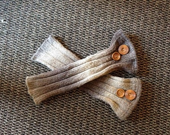One-Of-A-Kind Blended Brown Upcycled Recycled Refashioned Repurposed Leg Warmers from a Sweater