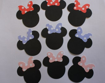 9 Minnie Heads With Poke-a-Dot Bows/Minnie Mouse/Die Cuts/Embellishments/Scrapbooking/Paper Cuts/Card Making/Vacation/Disney