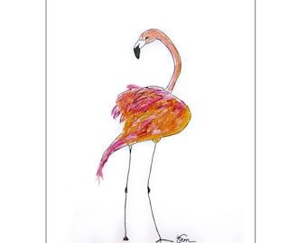 Catchii illustration, with originally hand-painted illustration of flamingo back
