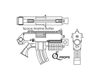 Warhammer 40k Space Marine  Bolter Blueprint