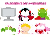 INSTANT Download VALENTINES DAY Dough Mats Games Printable Download - Fun Family Party diy