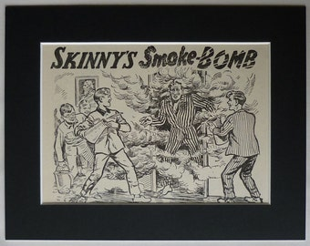 1950s Vintage Boys' Boarding School Print of 'Skinny's Smoke Bomb' Gift Retro school boy art, black and white English schoolboy illustration