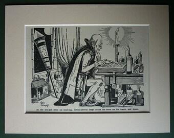 1950s Vintage Children's Print of a Wizard with Fireworks Charming nursery decor, fantasy storybook art - Bonfire Night Gift - Firework Art