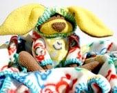 Monkey Business Baby Blanket with Bunny, security blanket - monkey print , handmade, waldorf, baby shower gift baby boy