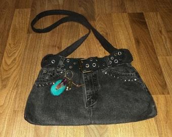 Denim Purse Recycled Jean Bag Black Denim Jean Handbag Shoulder Purse Upcycled Denim Purse Rhinestone Studs Handbag Purse   by jillsfineart