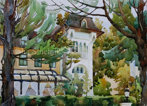 Villa Sophia architecture painting digital download from original watercolor autumn landscape