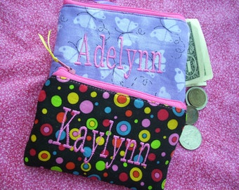 Girl's  Coin Purse, Personalized Zipper Wallet