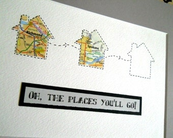 Graduation Map Gift Class of 2017 - Oh the Places You'll Go - Personalized Graduate Gift - Design #59
